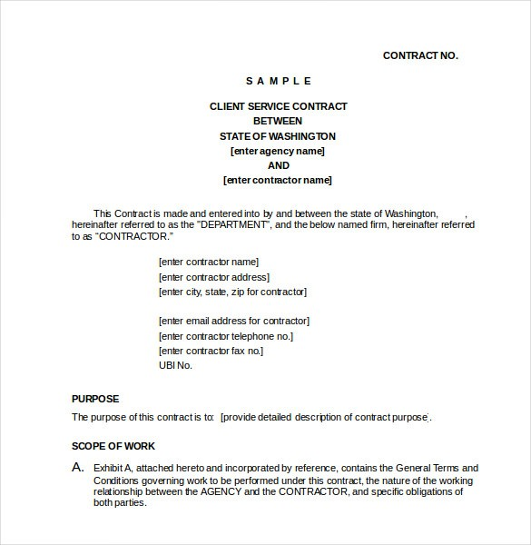 client contract template  Contract Template – 24+ Free Word, Excel, PDF Documents ..