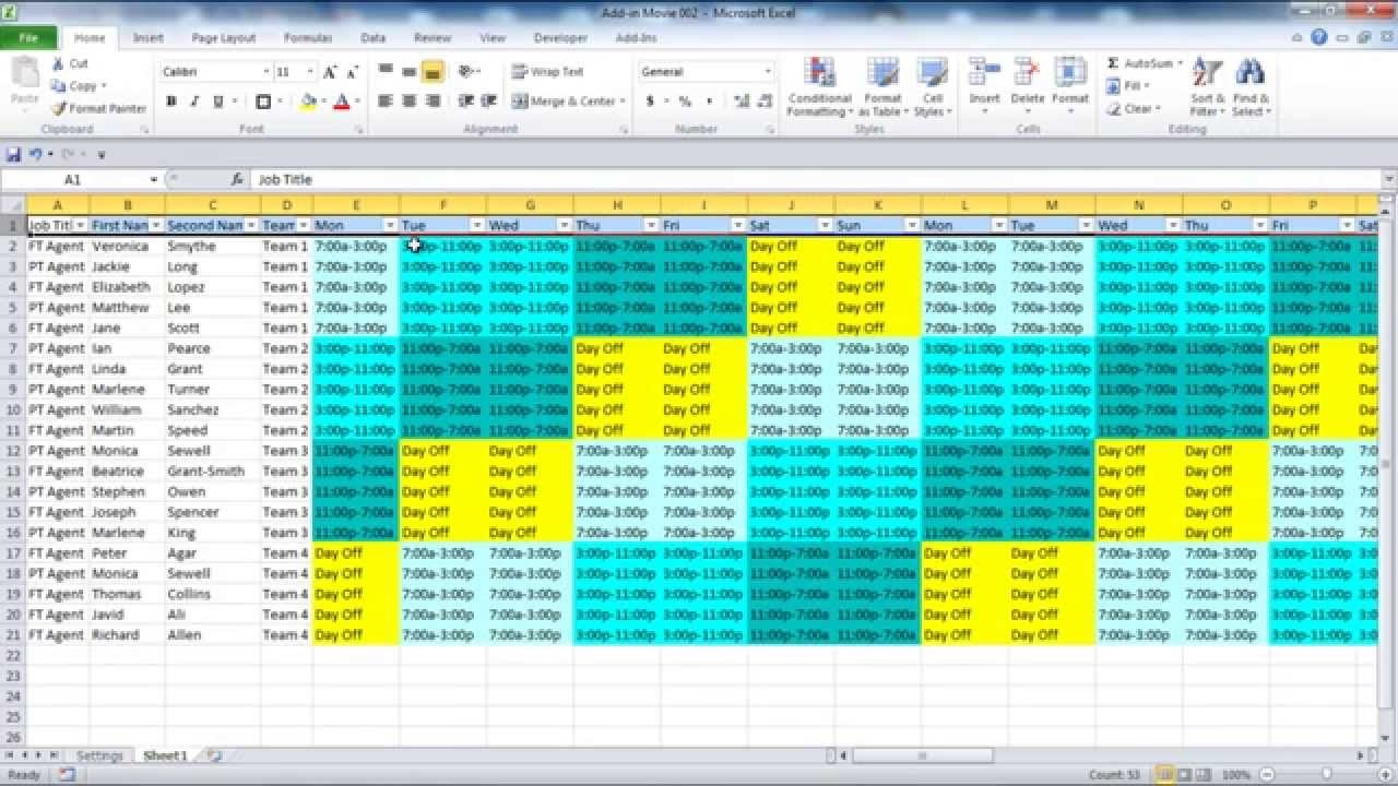 4 person work schedule template  Creating your Employee Schedule in Excel - YouTube - 4 person work schedule template