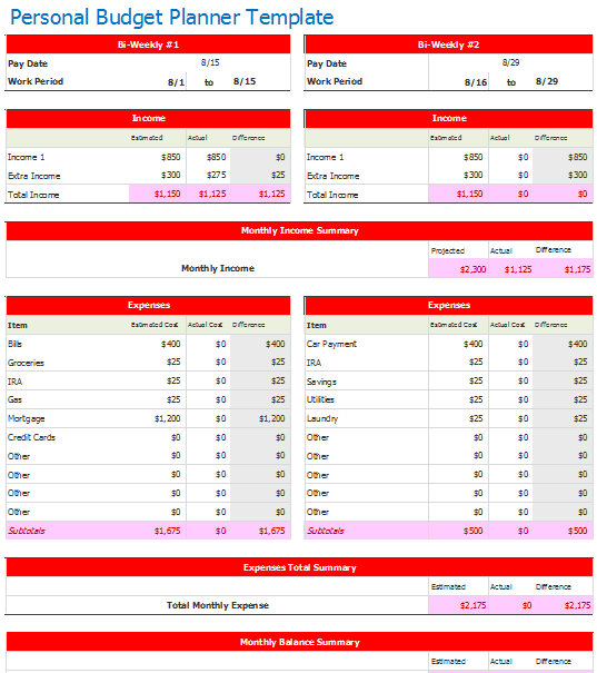 personal budget template bi weekly  Document Templates: October 2015 - personal budget template bi weekly