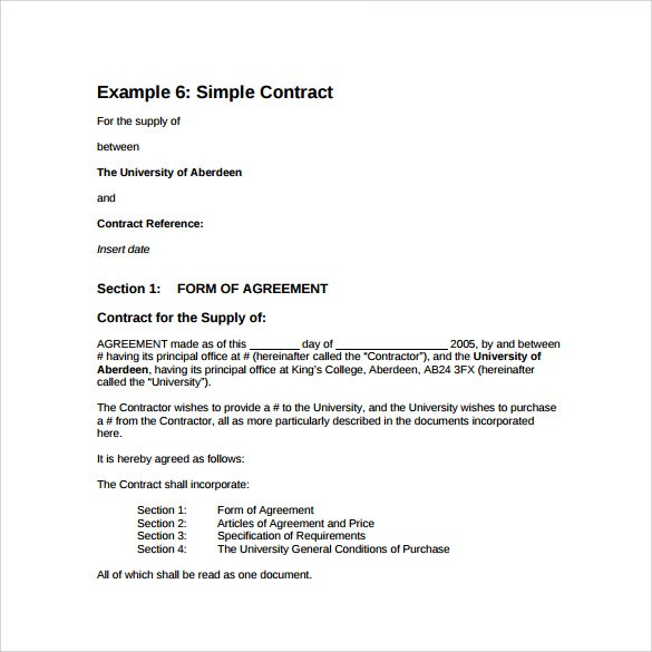 simple model contract template  FREE 19+ Sample Basic Contract Templates in MS Word ..
