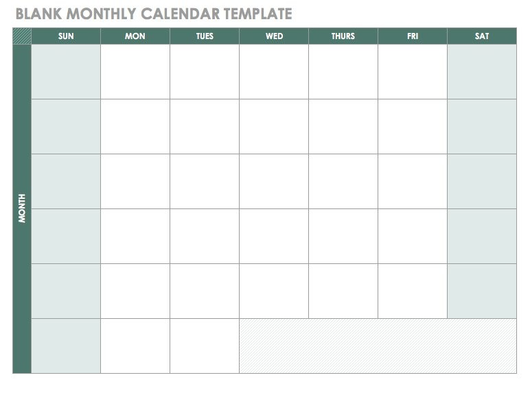 monthly work schedule template 2018  Free Blank Calendar Templates - Smartsheet - monthly work schedule template 2018