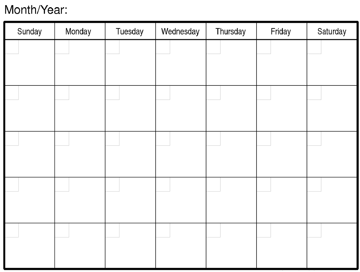 calendar template large boxes  Free Blank Monthly Calendars to Print | Calendar Shelter - calendar template large boxes