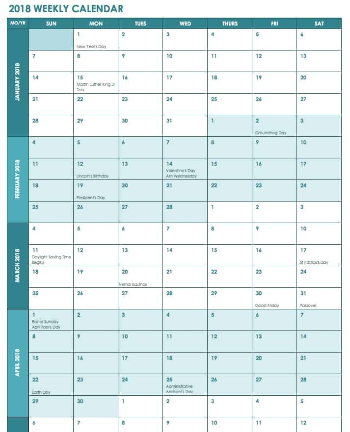 monthly work schedule template 2018  Free Excel Calendar Templates - monthly work schedule template 2018