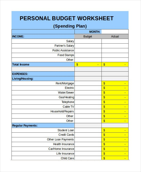 detailed budget template  Free Personal Budget Template - 7+ Free Excel, PDF ..