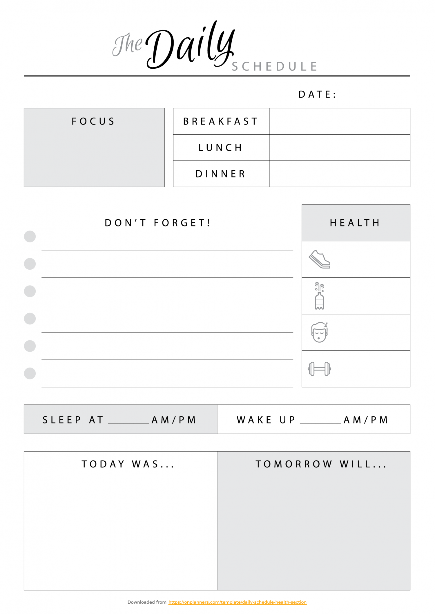 schedule template pages  Free Printable The Daily Schedule with Health section PDF ..