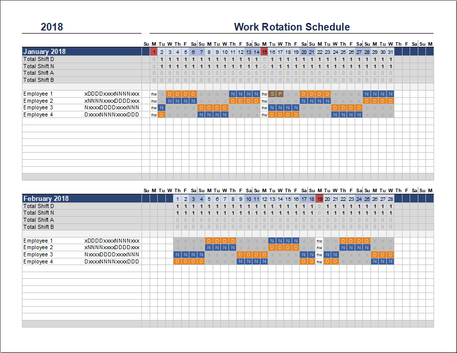 4 person work schedule template  Free Rotation Schedule Template - 4 person work schedule template