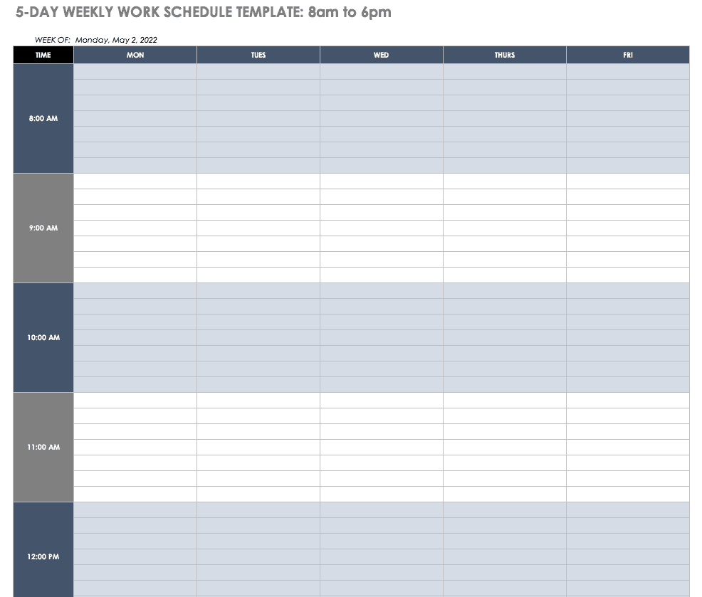 4 person work schedule template  Free Work Schedule Templates for Word and Excel |Smartsheet - 4 person work schedule template