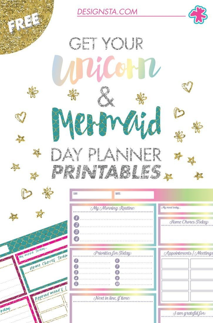 2019 calendar template for kids  Get your FREE Unicorn & Mermaid Day Planner printables now ..