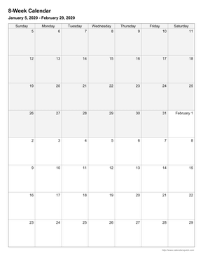 8 week calendar template pdf  Printable Weekly Calendars - CalendarsQuick - 8 week calendar template pdf