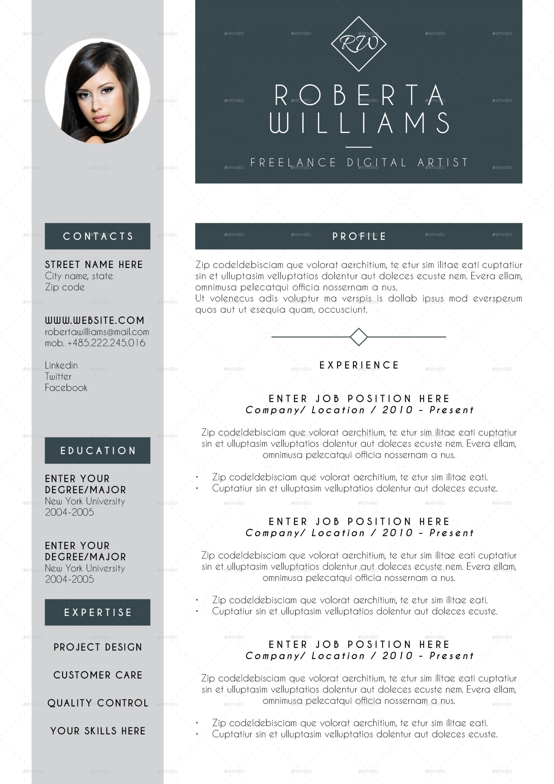 2 page resume template free  Professional Resume CV Indesign Template by ..