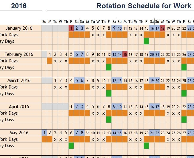4 week rotation schedule template  Rotation Schedule for Work - My Excel Templates - 4 week rotation schedule template