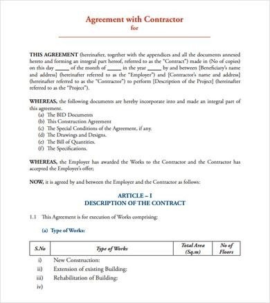contract template agreement  Sample Contract Agreement - 12+ Documents In PDF, Word - contract template agreement