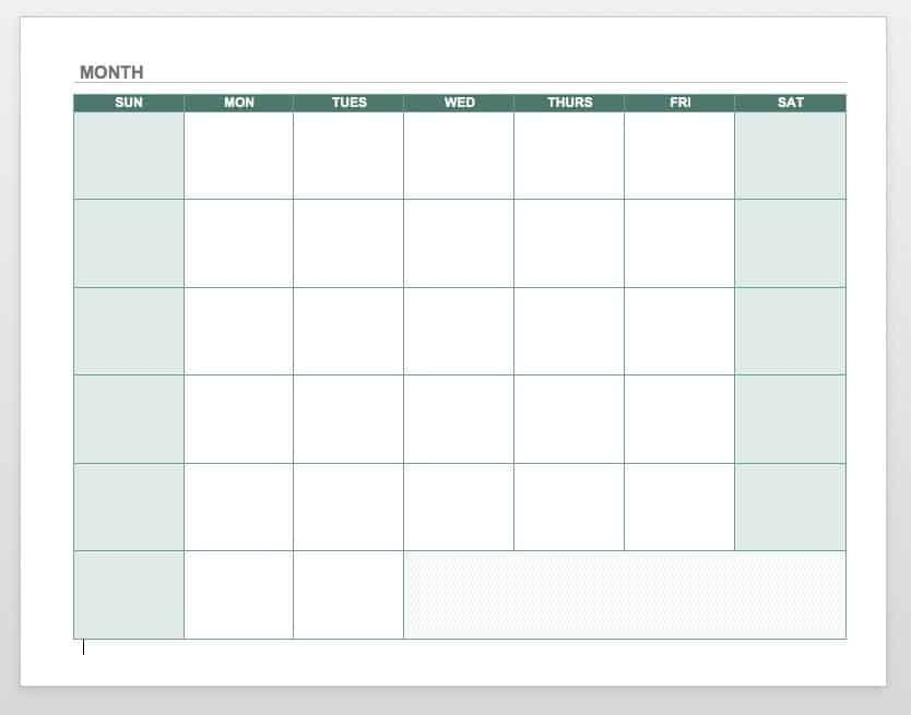 blank calendar word template  15 Free Monthly Calendar Templates   Smartsheet - blank calendar word template