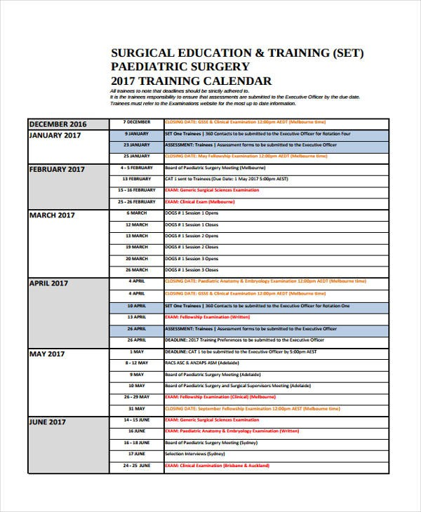 calendar for training template  21+ Training Calendar Templates - Free Sample, Example ..
