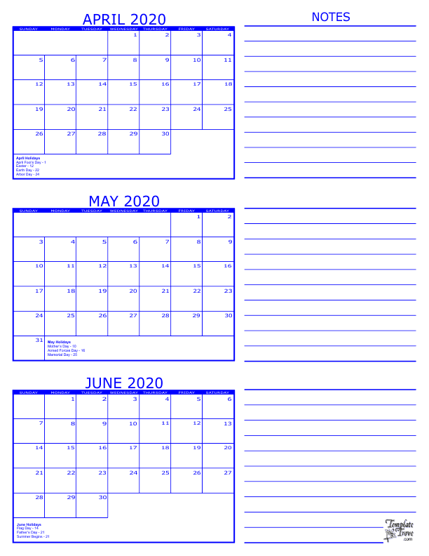 blank calendar april may june 2020  3 Month Calendar - 2020 - blank calendar april may june 2020