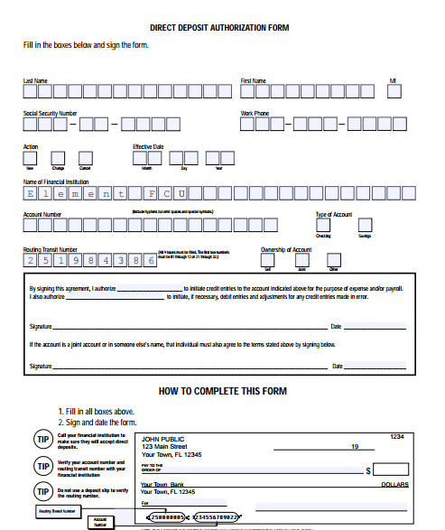 deposit form template word  5 Generic Direct Deposit Form Templates - formats ..