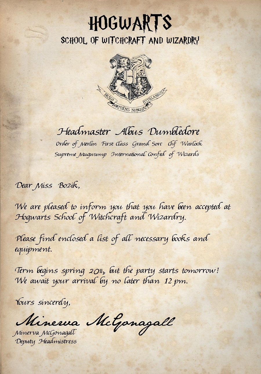 hogwarts acceptance letter birthday card  Acceptance Letter | Book Club Bashes - hogwarts acceptance letter birthday card