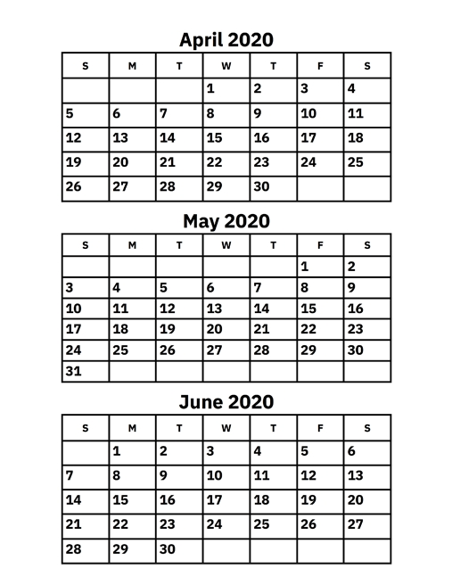 blank calendar april may june 2020  April May June 2020 Calendar | Calvert Giving - blank calendar april may june 2020