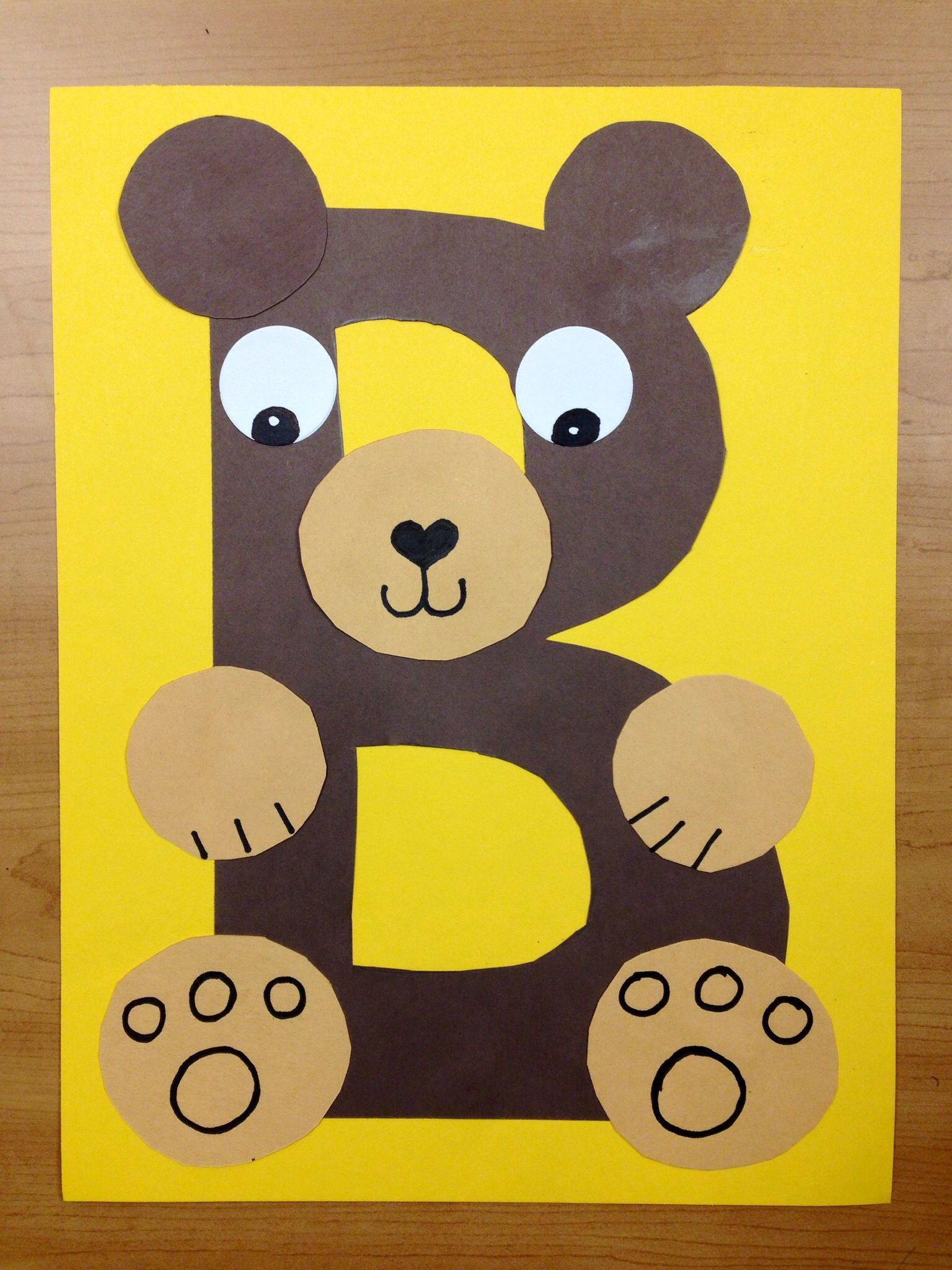 letter b bear craft template  B is for Bear. Brown bear. Preschool alphabet craft ..