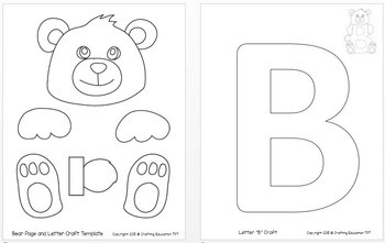 letter b bear craft template  Bear Craft and Letter B Tracing Page by Crafting Education ..