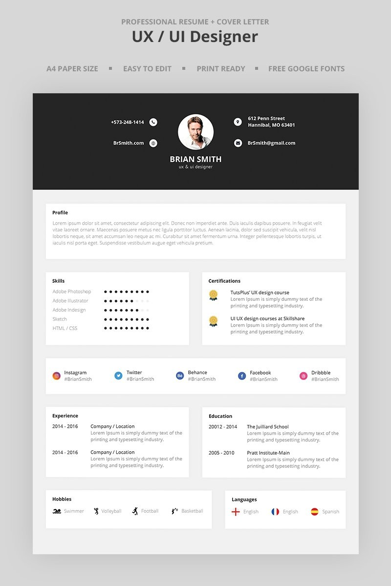 resume template html  Brian Smith - UX/UI Designer Resume Template #66981 - resume template html