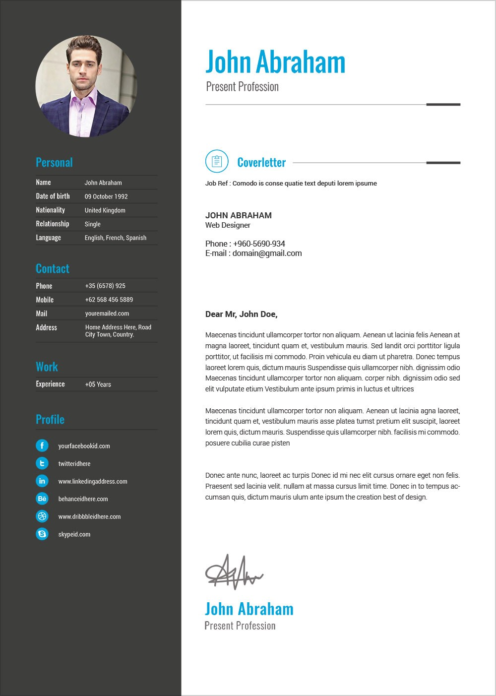 resume templates word free download  Free Professional Resume Template & Cover Design In INDD ..