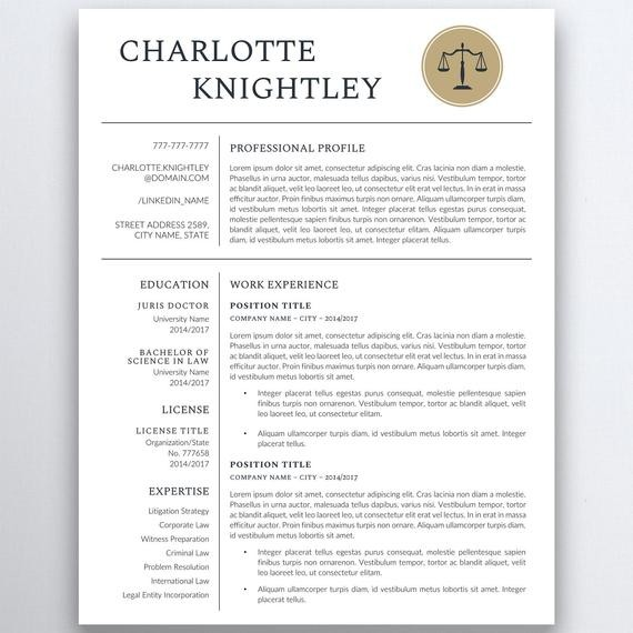 resume template college student  Legal Resume Template Lawyer Resume Attorney Resume | Etsy - resume template college student
