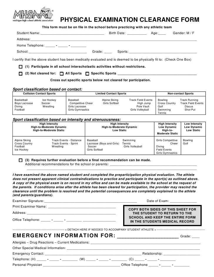state of florida sports physical form  MHSAA Athletic Physical Forms - state of florida sports physical form