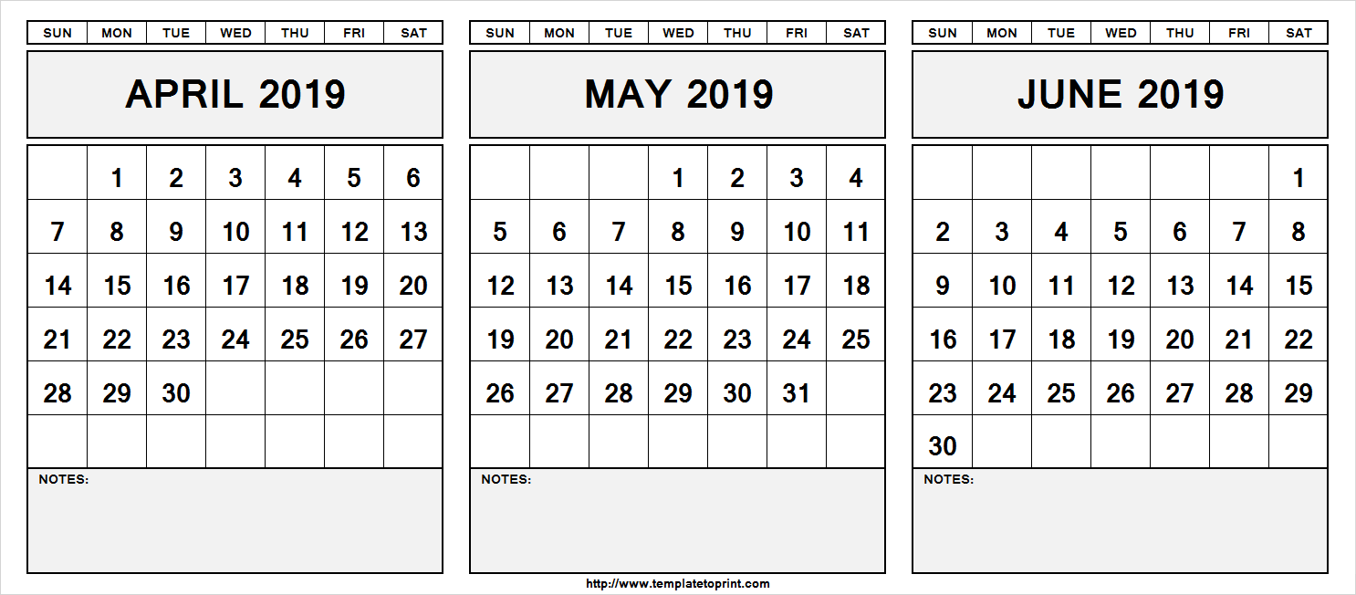 blank calendar april may june 2020  Printable April May June 2019 Calendar With Notes #april # ..