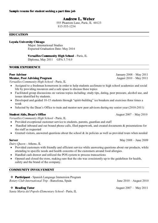 resume template college student  Sample Resume For Student Seeking A Part Time Job ..