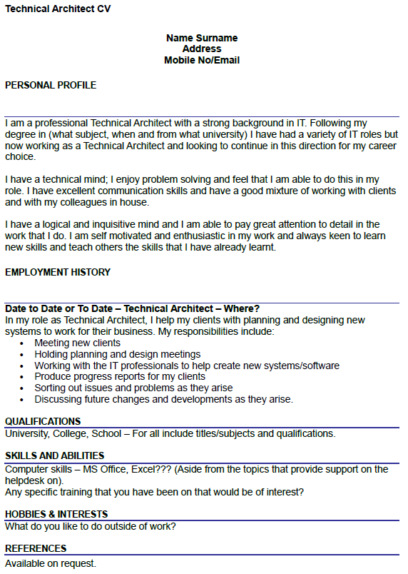 resume template college student  Technical Architect CV Example - icover.org