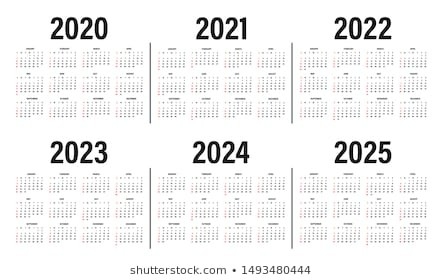 5 year calendar 2020 to 2025  Year 2025 Images, Stock Photos & Vectors | Shutterstock - 5 year calendar 2020 to 2025