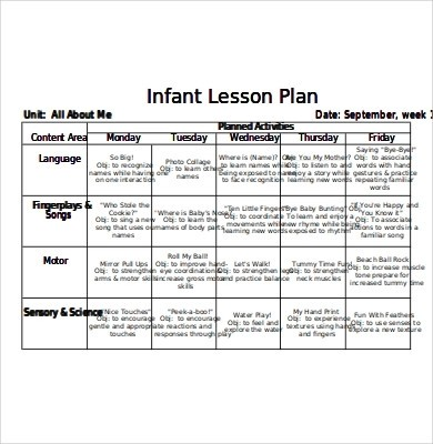 lesson plan template for infants  10+ Best Lesson Plan for Infants Examples & Templates ..