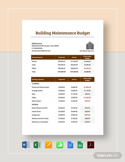 budget template apple numbers  Building Maintenance Budget Template - Word   Excel ..