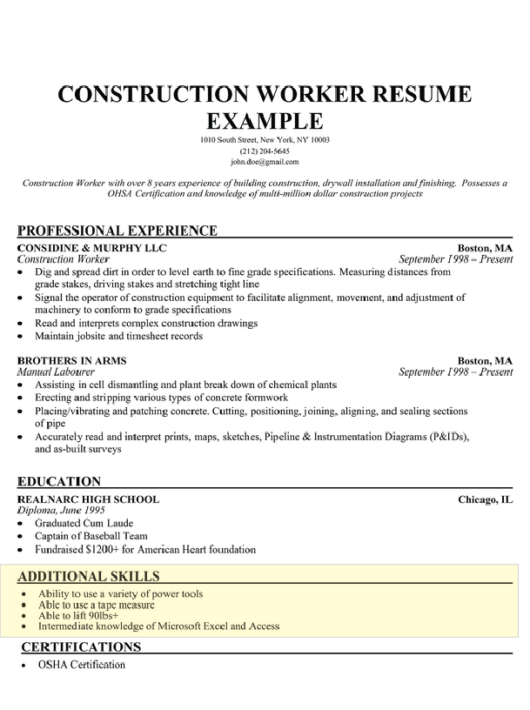 resume template skills section  How to Write a Skills Section for a Resume - Resume Companion - resume template skills section
