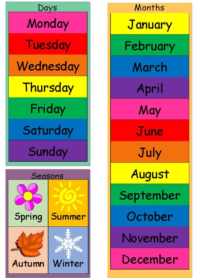 print free 4 month calendar  Today Is (Dates, Weather & Seasons) Chart   English ..
