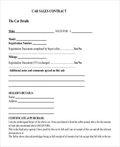 car sale contract template  36+ Sales Contract Template - Pages, Docs | Free & Premium ..