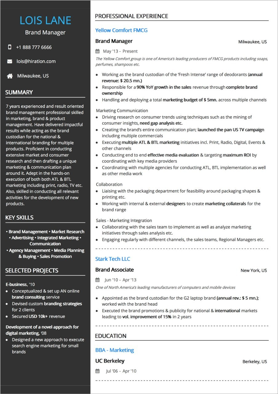 work experience one year experience resume  Best Resume Layout: 2020 Guide with +50 Examples and Samples - work experience one year experience resume