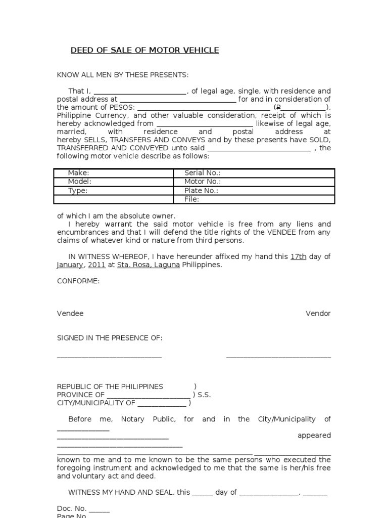 deed of sale form for motorcycle  Blank Deed of Sale of Motor Vehicle Template - deed of sale form for motorcycle
