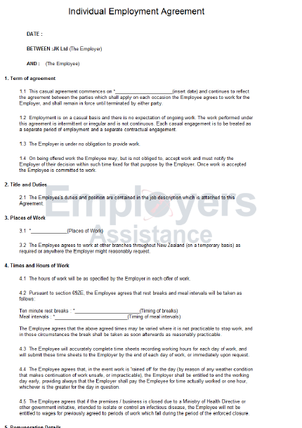 basic employment contract template nz  Casual Employment Contract & Agreement - Employers ..