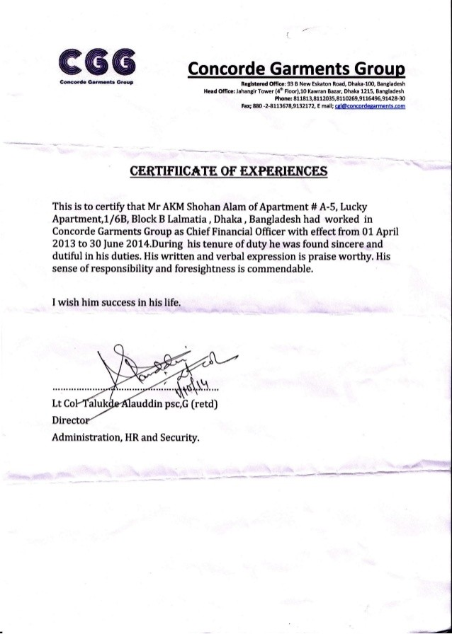 hotel work experience certificate format  CGL Experience Certificate For AKM Sohan Alam - hotel work experience certificate format