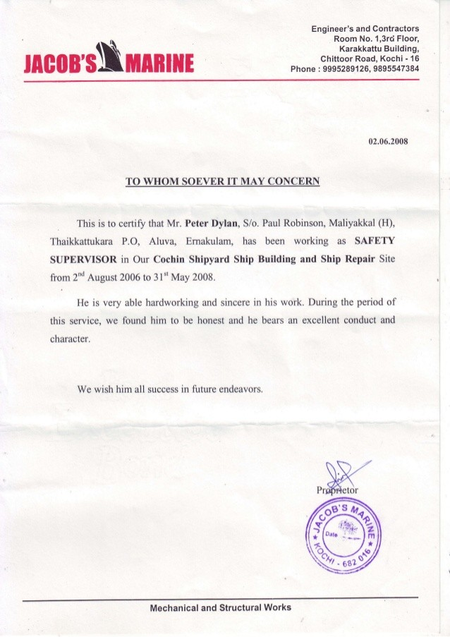 work experience experience certificate letter  Cochin Shipyard Experiance Cert