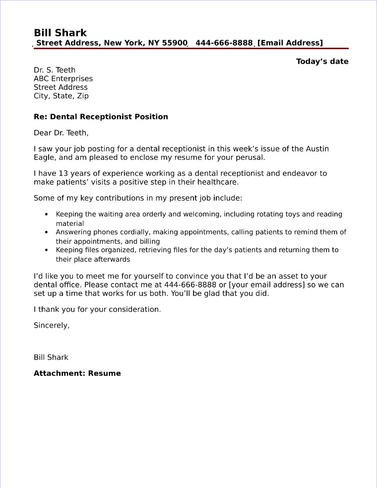 work experience law cover letter  Dental Receptionist Cover Letter Sample - work experience law cover letter