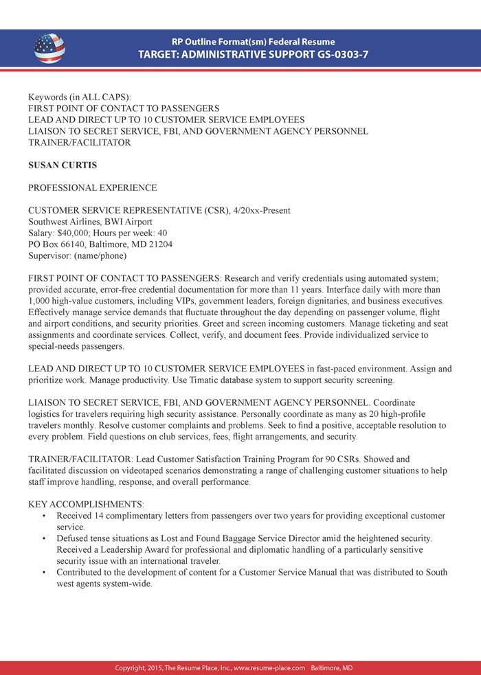 work experience one year experience resume  Federal Resume Samples | Resume Place - work experience one year experience resume