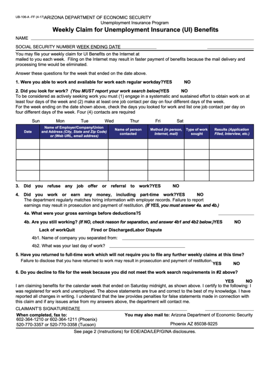 unemployment weekly claim form  Fillable Form Ub-106-A-Ff - Weekly Claim For Unemployment ..