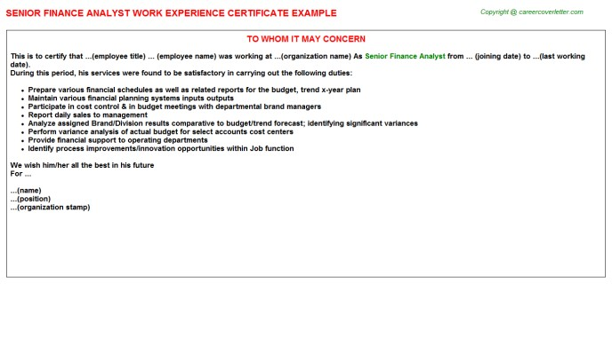 work experience store keeper experience certificate  Finance Experience Letters - work experience store keeper experience certificate