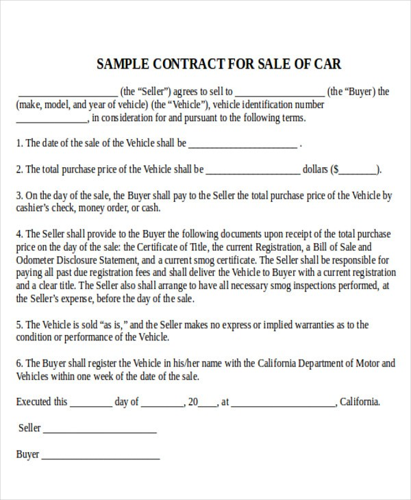 car sale contract template  FREE 7+ Sample Used Car Sale Contracts in MS Word | PDF ..