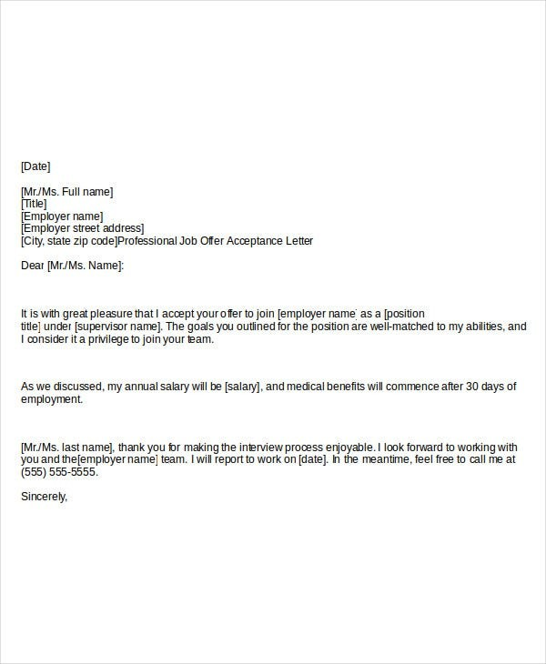 acceptance letter how to accept a job offer email  Job Offer Acceptance Letter- 8+ Free PDF Documents ..