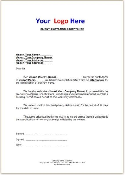 quotation acceptance letter sample  Letter Writing Quotes