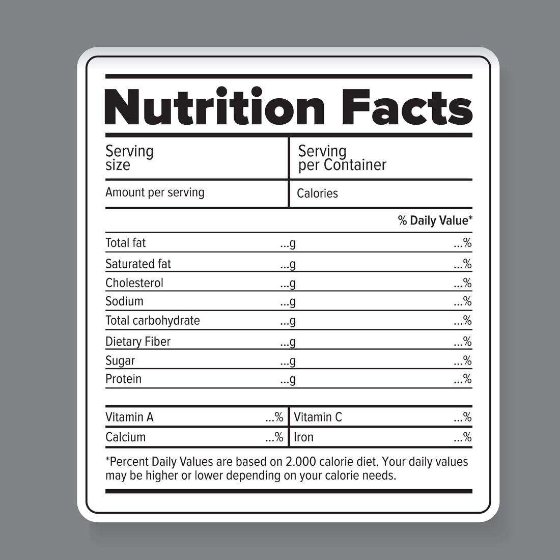 nutrition label template blank  Nutrition facts vector label ~ Graphic Objects ~ Creative ..